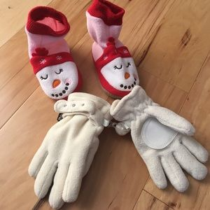 A SET OF GLOVES AND BABY SHOES